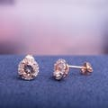 Morganite Sapphire, Palladium Silver, Halo Gemstone Earrings