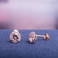 Morganite Druzy Gemstone Earrings
