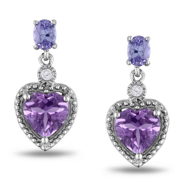 Miadora Sterling Silver Multi-gemstone and Diamond Earrings (H-I, I2-I3)