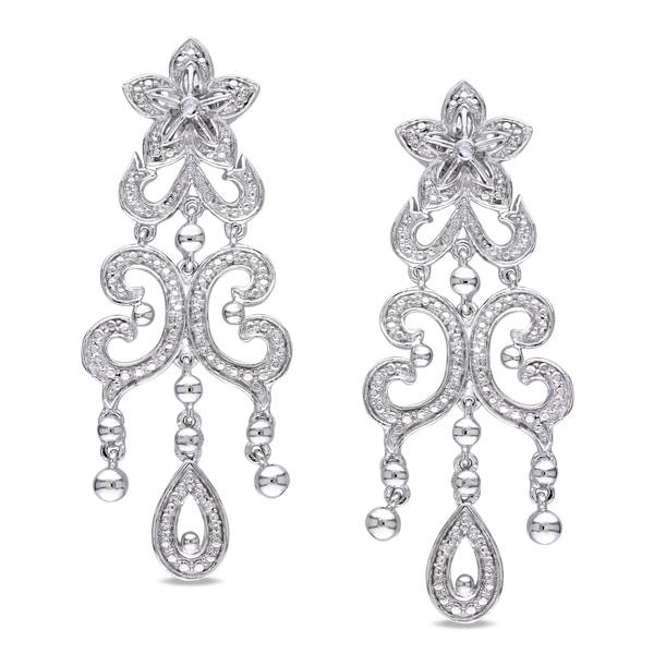 Miadora Sterling Silver Diamond Ear Pin Earrings