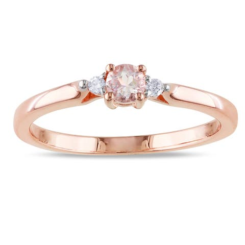 3-Stone Morganite and Diamond Ring in Rose Plated Sterling Silver by Miadora