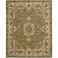"Nourison 2000 Hand-Tufted Tabriz Green Floral-Pattern Rug (9'9"" x 13'9"") - 9'9"" x 13'9"""