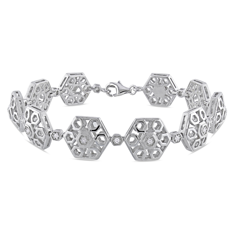 Miadora Sterling Silver 1/5ct TDW Diamond Bracelet (G-H, I1-I2)