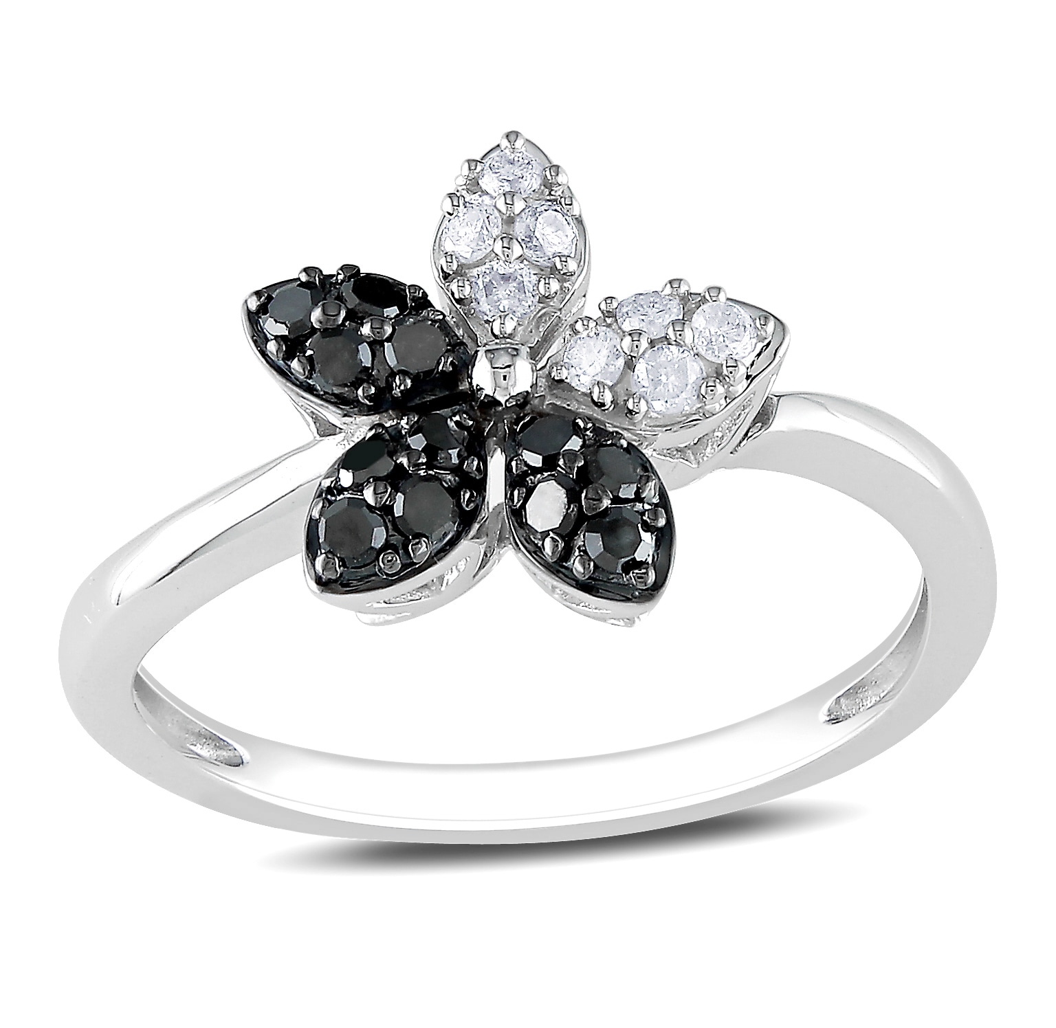 Miadora 14k White Gold 1/4ct TDW Black and White Diamond Flower Fashion Ring