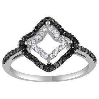 Miadora 14k White Gold 1/3ct TDW Prong-set Black and White Diamond Geo Shaped Ring