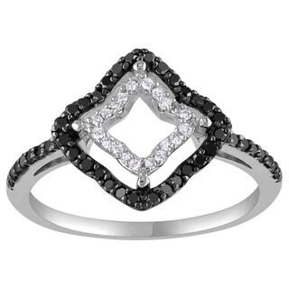 Miadora 14k White Gold 1/3ct TDW Prong-set Black and White Diamond Geo Shaped Ring