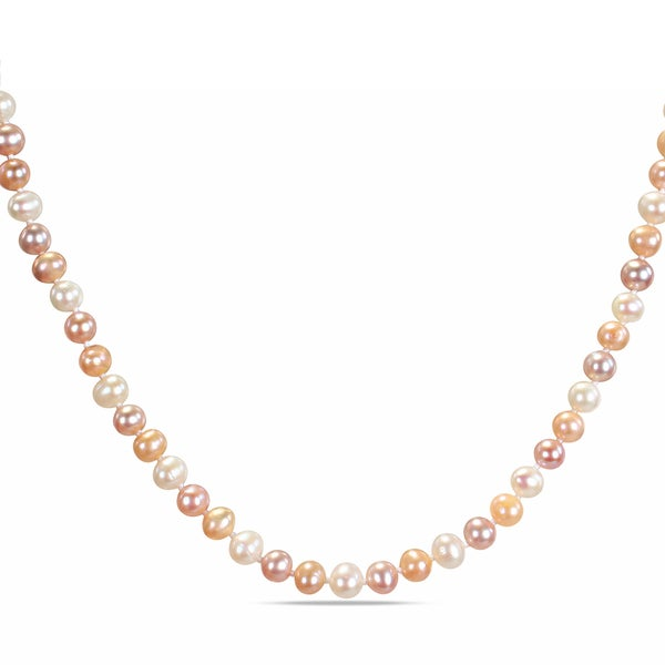 Miadora Multi-Pink Cultured Freshwater Pearl Necklace with Silver Clasp (6.5 - 7 mm)