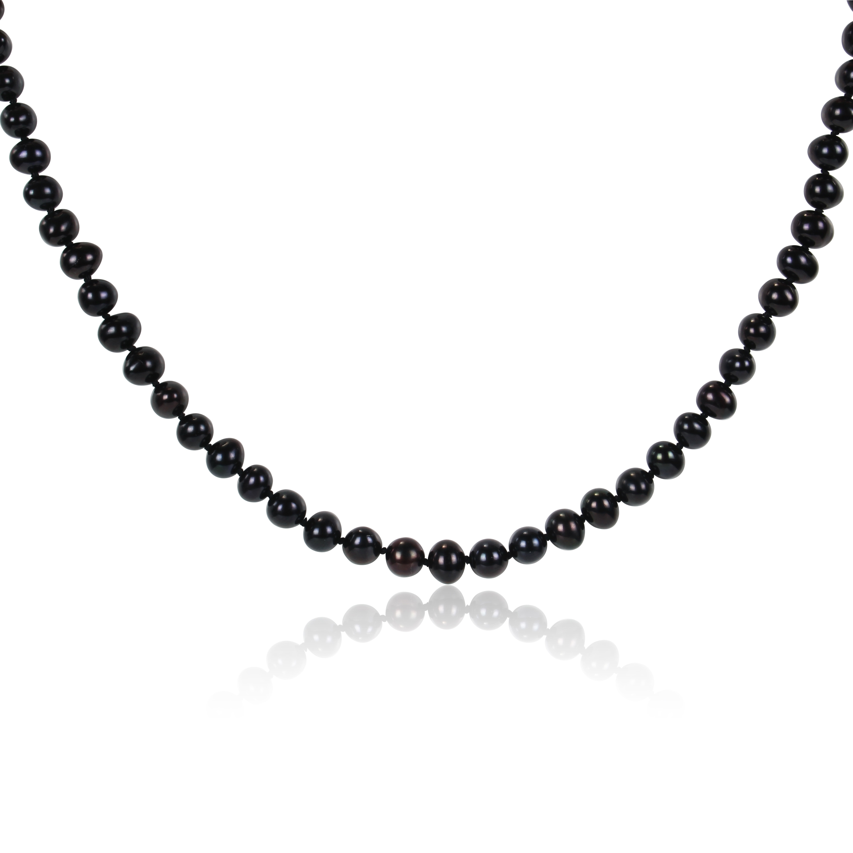 M by Miadora Black Cultured Freshwater Pearl Necklace with Silver Clasp (6.5 - 7 mm)