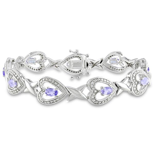 Miadora Sterling Silver Tanzanite and Diamond Bracelet (H-I,I3)