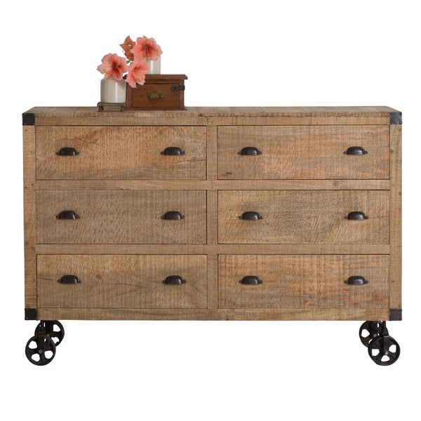 6drawer industrial mango wood dresser