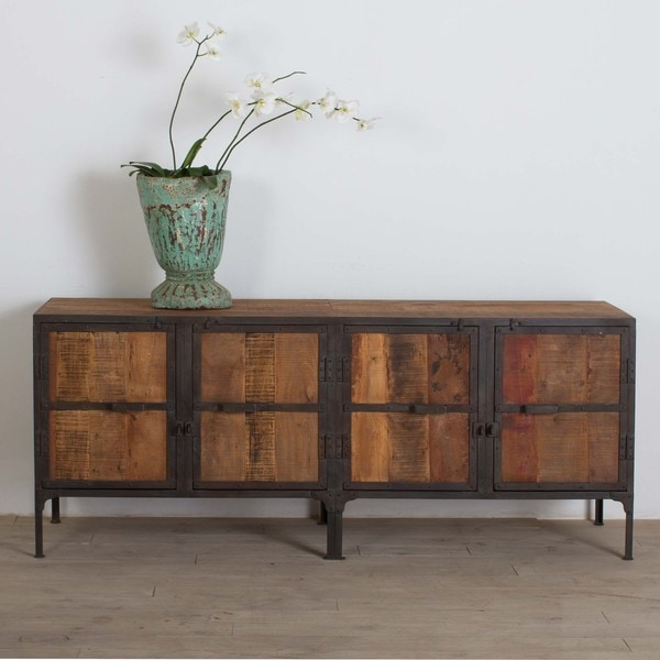 Handmade Hyderabad Reclaimed Wood and Metal Buffet (India) - Handmade Hyderabad Reclaimed Wood And Metal Buffet (India) - Free