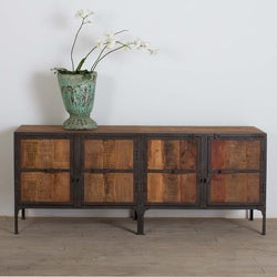 CG Sparks Handmade Hyderabad Reclaimed Wood and Metal Buffet Sideboard (India)