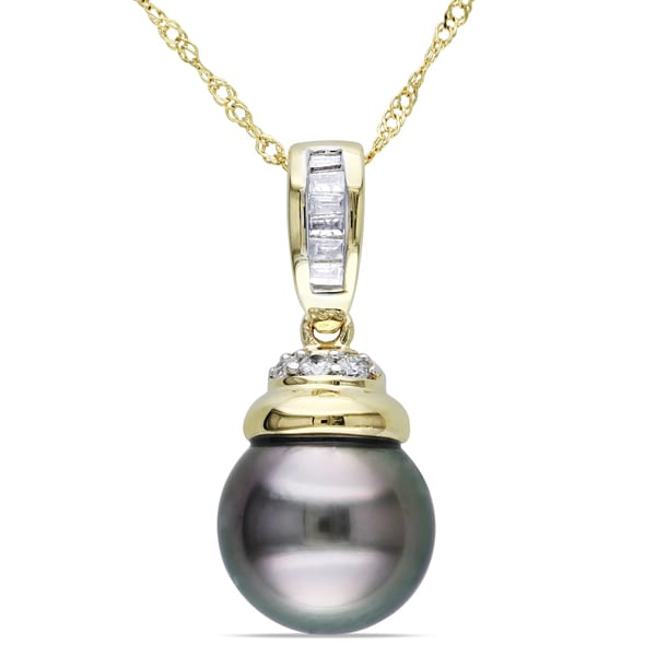 Miadora 14k Yellow Gold Pearl and 1/10ct TDW Diamond Necklace (G-H, I1-I2)