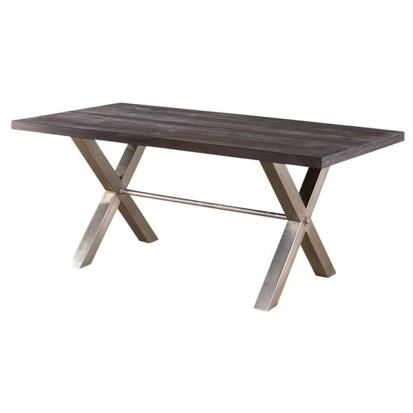 X Base Smokey Teak Dining Table