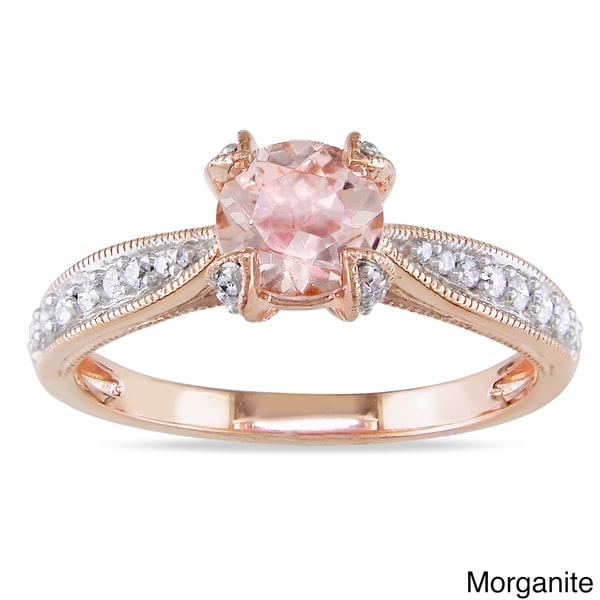 Miadora Silver Gemstone and 1/5ct TDW Diamond Engagement Ring (G-H, I1-I2)