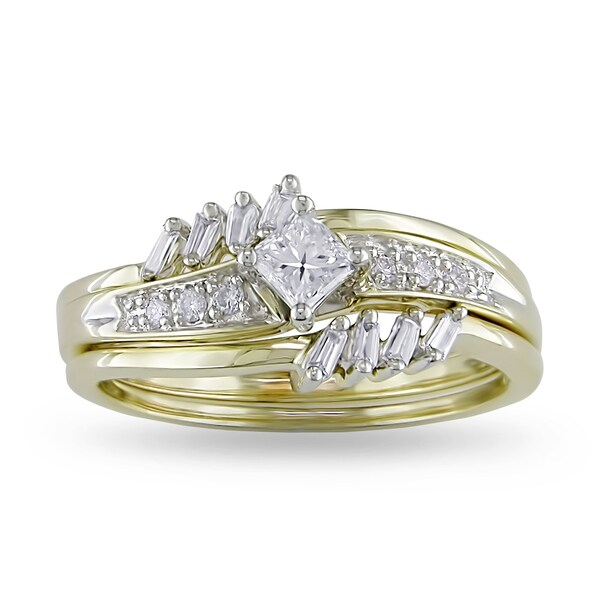 Miadora 14k Yellow Gold 3/8ct TDW Diamond Bridal Ring Set