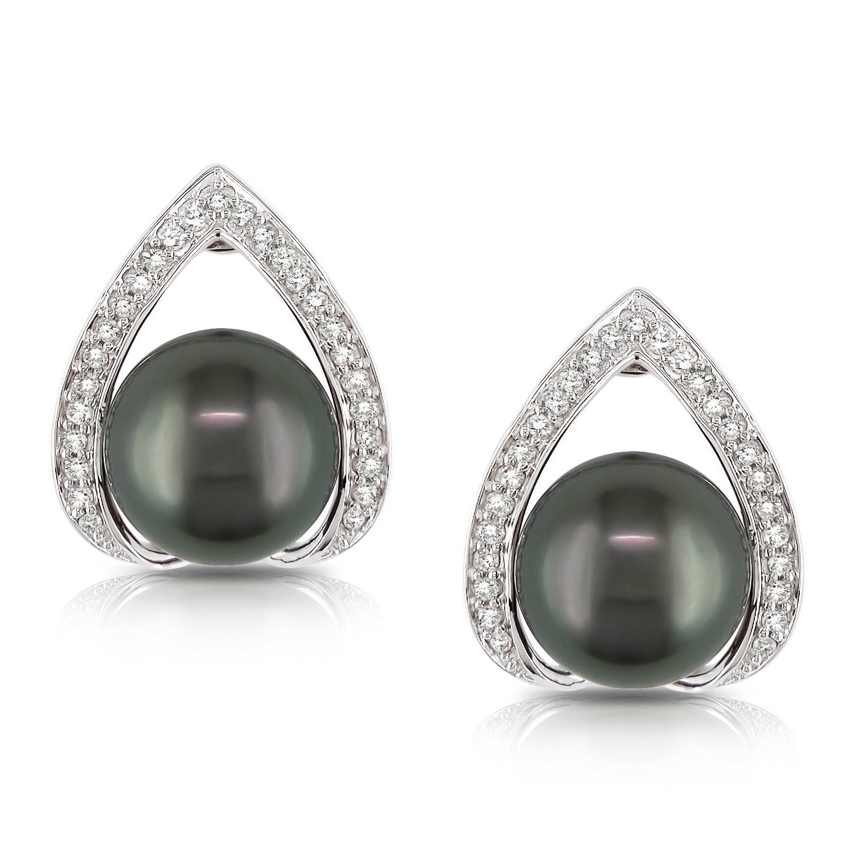 Miadora 14k White Gold Tahitain Pearl and 1/4ct TDW Diamond Earrings (H-I, I2-I3)