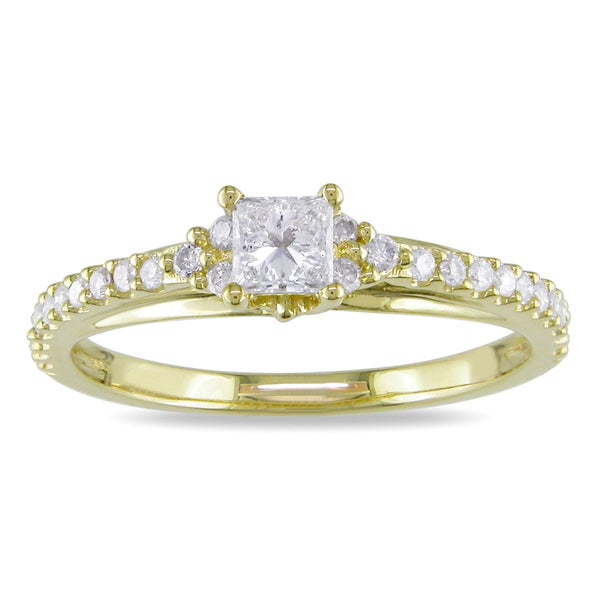 Miadora 10k Yellow Gold 1/2ct TDW Diamond Engagement Ring (H-I, I2-I3)