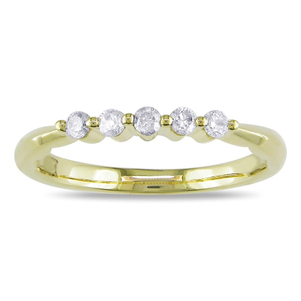 Haylee Jewels 10k Yellow Gold 1/5ct TDW Diamond Anniversary Ring (H-I, I2)