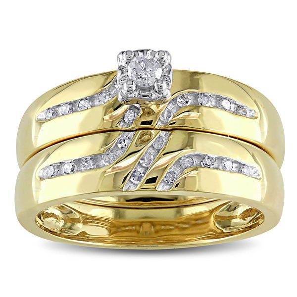 Miadora 10k Yellow Gold 1/6ct TDW Diamond Bridal Ring Set (H-I, I2-I3)