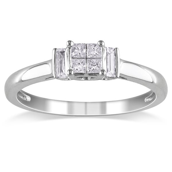 Miadora 10k White Gold 1/4ct TDW Mixed Cut Diamond Ring