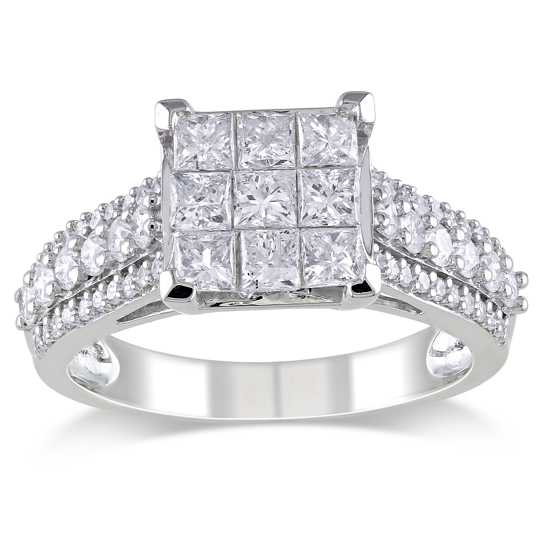 Miadora 10k White Gold 1 1/2ct TDW Diamond Engagement Ring