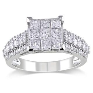 Miadora 10k White Gold 1 1/2ct TDW Diamond Engagement Ring