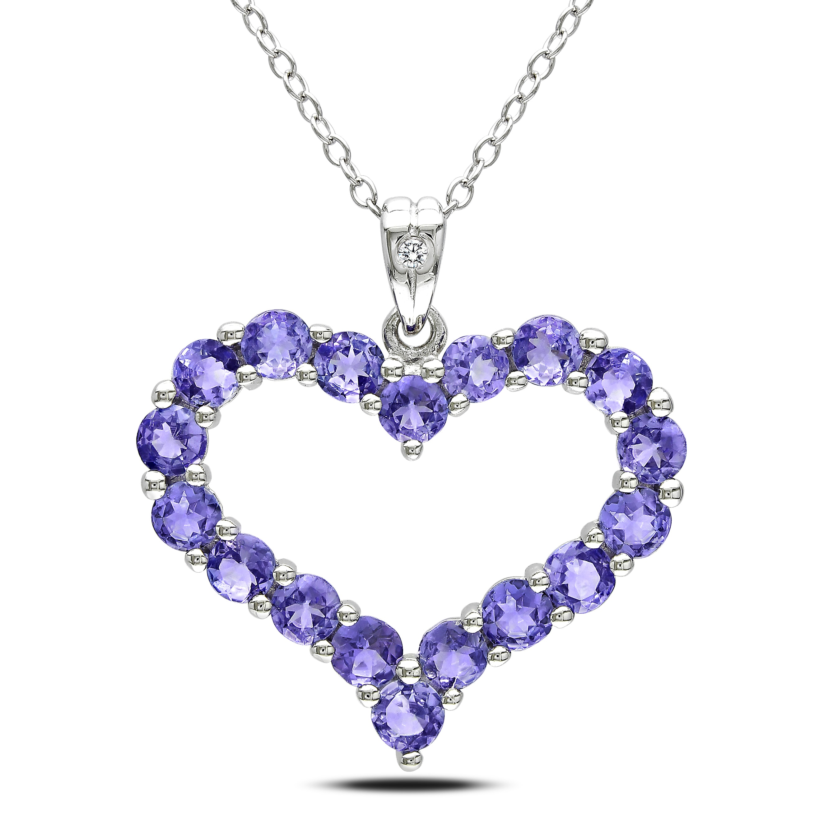 Miadora Sterling Silver Tanzanite and Diamond Necklace (H-I,I3)