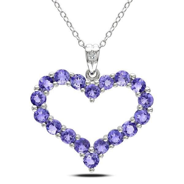 Miadora Sterling Silver Tanzanite and Diamond Necklace (H-I,I3)