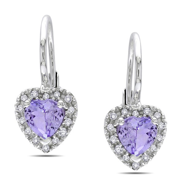Miadora Sterling Silver Tanzanite and 1/6ct TDW Diamond Earrings (H-I,I3)