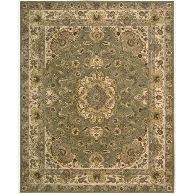 "Nourison 2000 Hand-Tufted Tabriz Green Area Rug (7'9"" x 9'9"")"