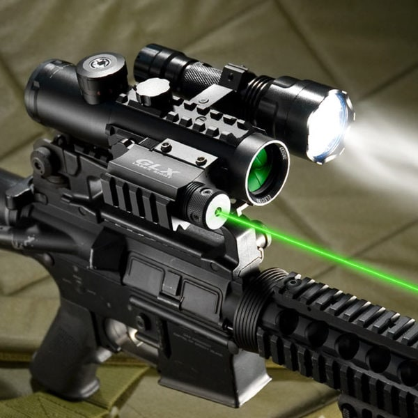 Barska 4x30 IR Electro Sight With Green Laser and 210 LUM Flashlight COMBO