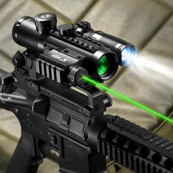 Barska 4x30 IR Electro Sight with Green Laser and 140 LUM Flashlight COMBO