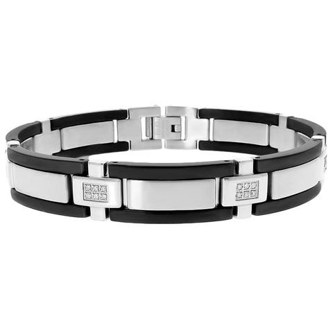 Black Ion-plated Steel Men's 1/4ct TDW Diamond Bracelet