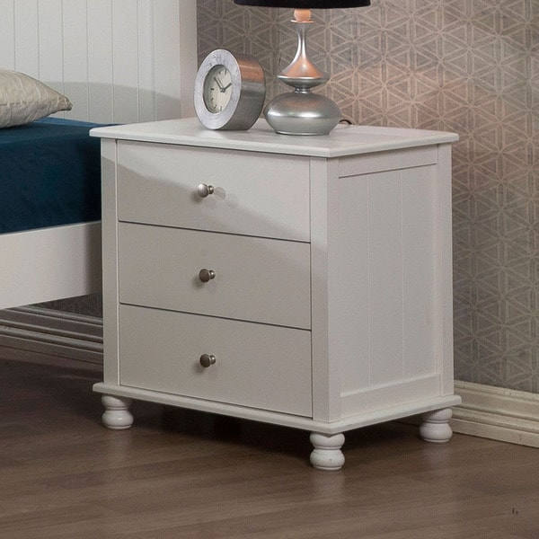 shop anderson white 3 drawer nightstand free shipping today overstock 7257903. Black Bedroom Furniture Sets. Home Design Ideas