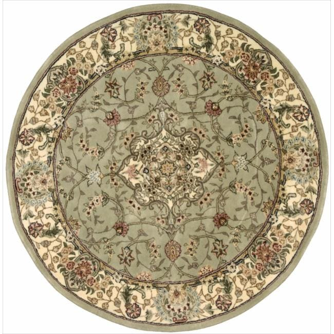 Nourison 2000 Hand-tufted Tabriz Light Green Rug (4' Round)