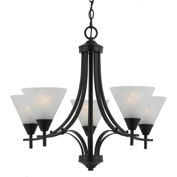 Transitional 5 light Chandelier in English Bronze