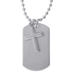 Stainless Steel Two-piece Dog Tag with Cross Pendant Necklace