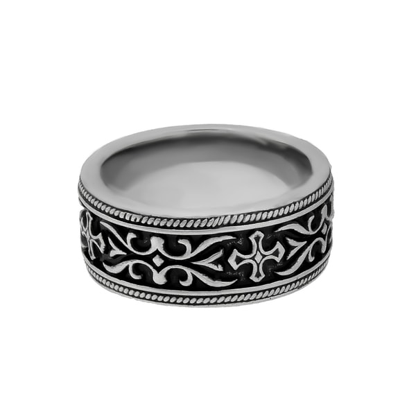Black Ion-plated Stainless Steel Men's Cross Detail Band