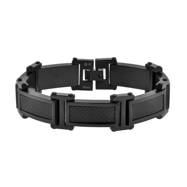 Black Ion-plated Stainless Steel Carbon Fiber Link Bracelet
