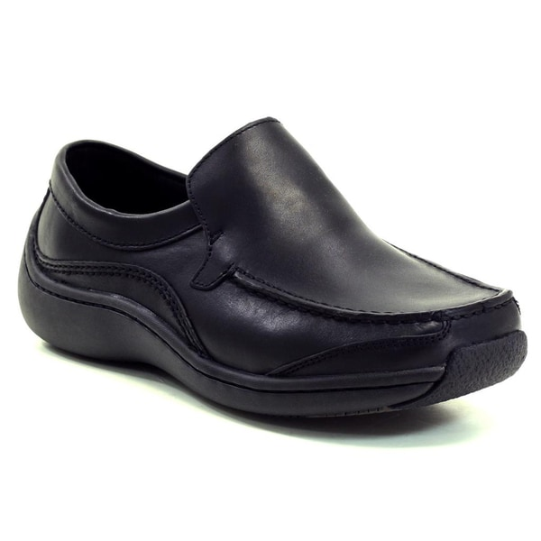 Klogs Men's Black Sierra Slip-on Leather Shoes