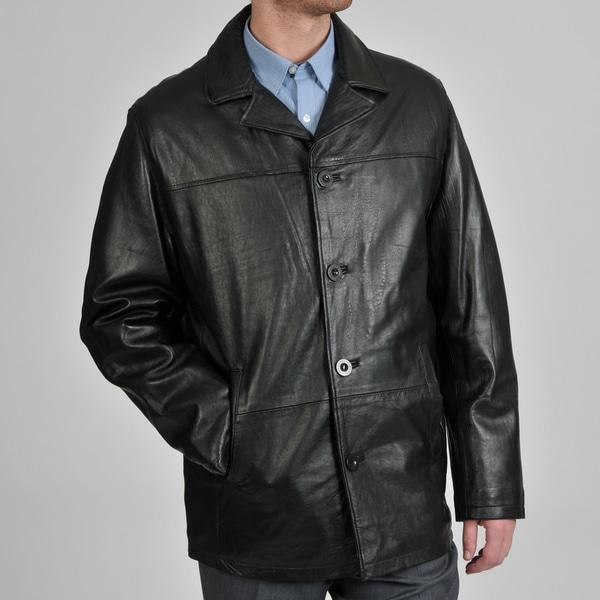 Chaps Men's Leather 4-Button Car Coat