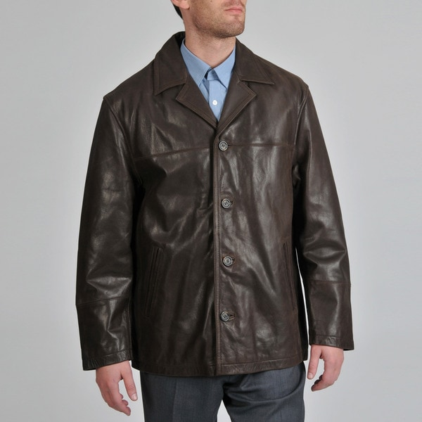 Shop Excelled Men's Leather Buffed Car Coat