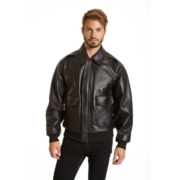 Excelled Mens Leather A-2 Bomber Jacket