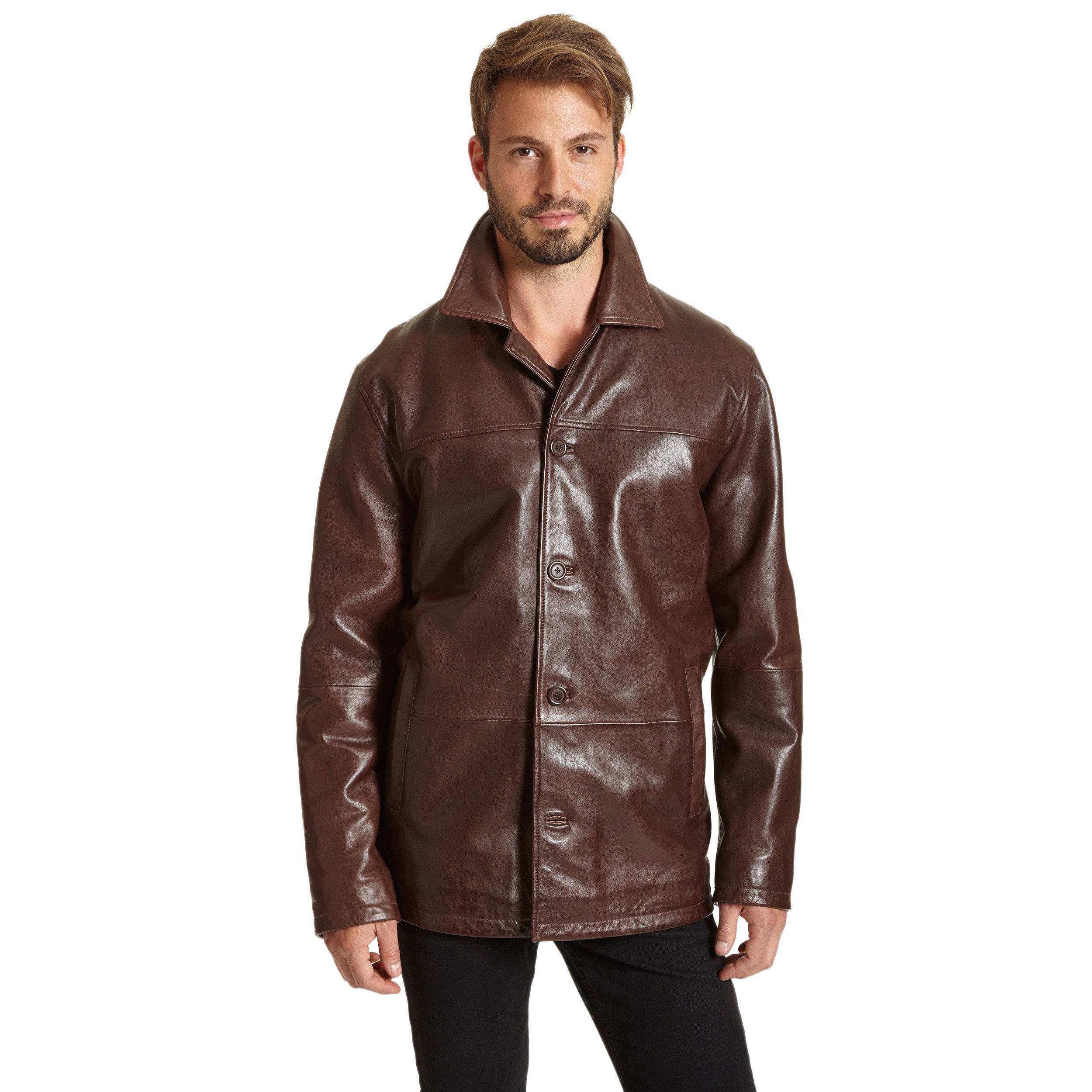 Excelled 1340rmj Mens Four-button Lambskin Leather Coat Brown 2xl ...