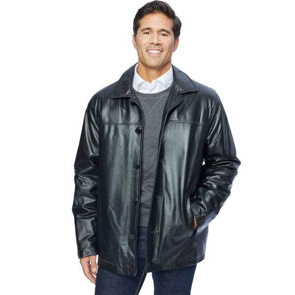 Excelled Men&39s Lamb Leather Car Coat - Free Shipping Today
