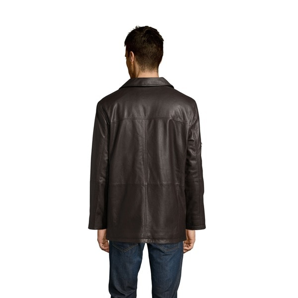 Excelled Men's Lamb Leather Car Coat - Free Shipping Today ...