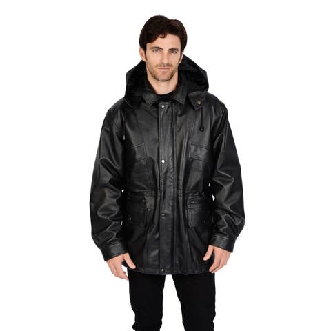 Excelled Men's Big & Tall Removable Hood Leather Parka
