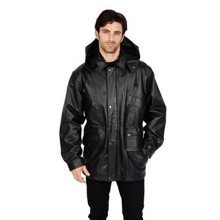 Excelled Men's Big & Tall Removable Hood Leather Parka - Free ...