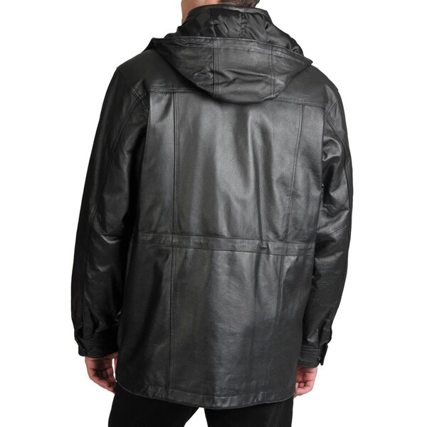 Excelled Men's Leather Parka with Removable Hood - Free Shipping ...